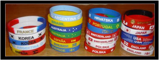 ¡ Cada país con su propia pulsera de silicona