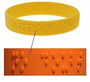 Pulseras de silicona en braille